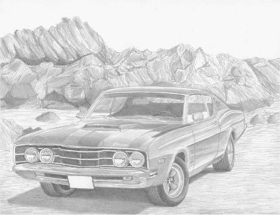 1968 Mercury Cyclone Muscle Car Art Print Drawing By Stephen Rooks
