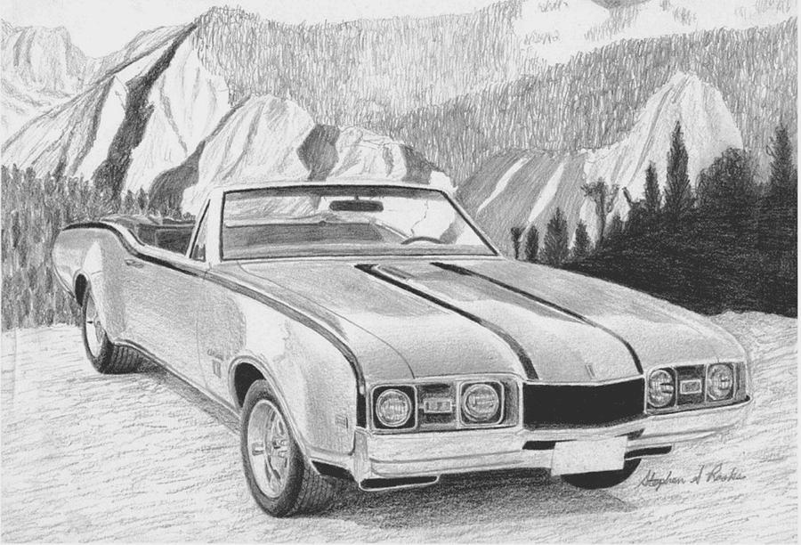 1968 oldsmobile cutlass convertible muscle car art print drawing