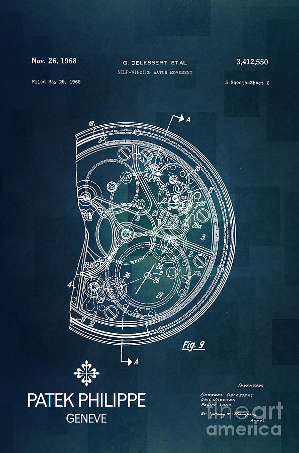 1968 Patek Philippe Patent 1 Digital Art