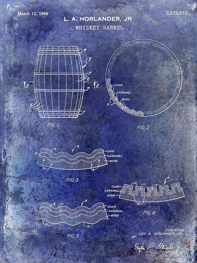 Whiskey Mixed Media - 1968 Whiskey Barrel Patent Blue by Jon Neidert