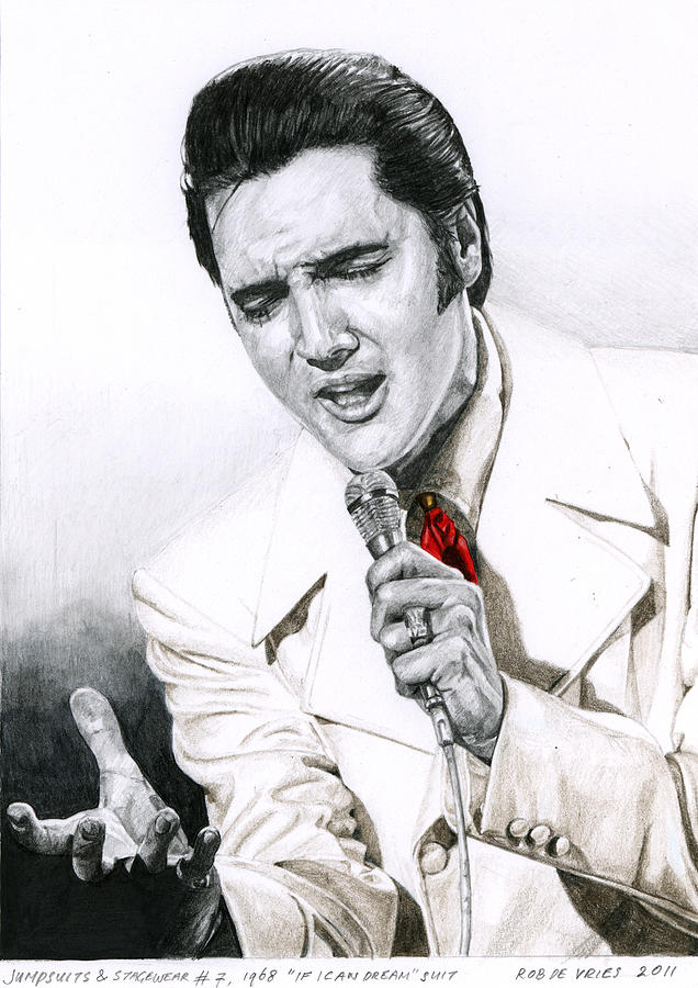Elvis Drawing - 1968 White If I Can Dream Suit by Rob De Vries
