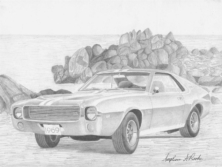 1969 Amx Javelin Muscle Car Art Print Drawing by Stephen Rooks