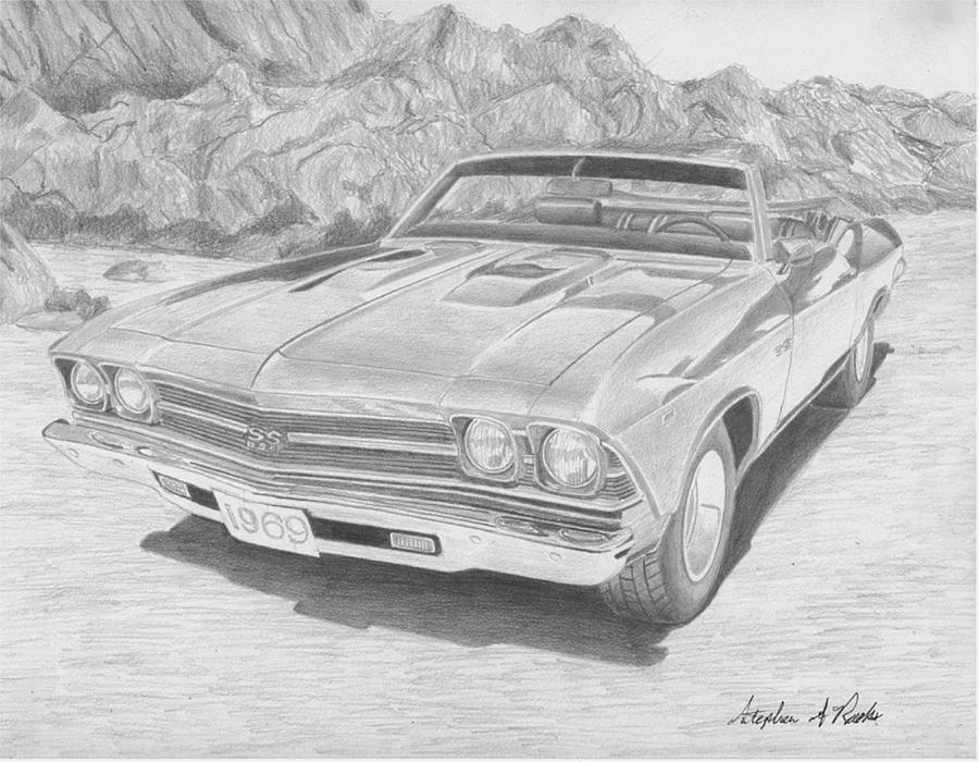 1969 Chevrolet Chevelle Ss Convertible Muscle Car Art Print Drawing ...