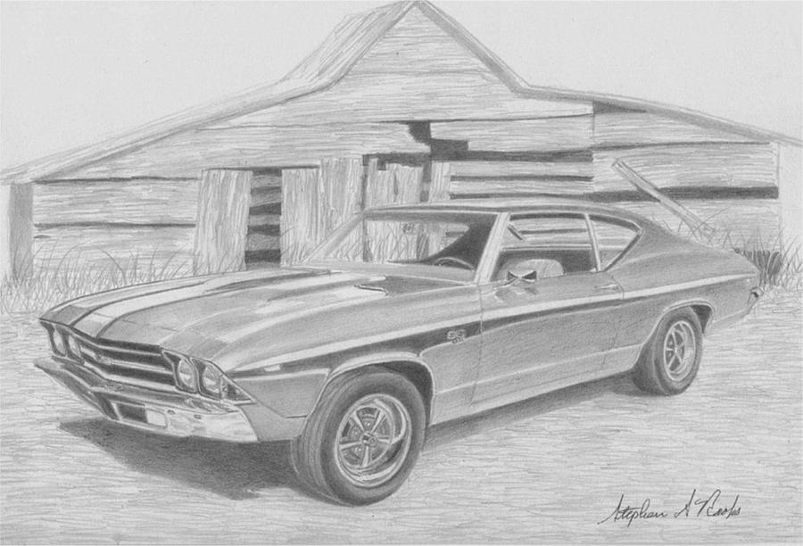 1969 Chevrolet Chevelle Ss Muscle Car Art Print Drawing By Stephen Rooks