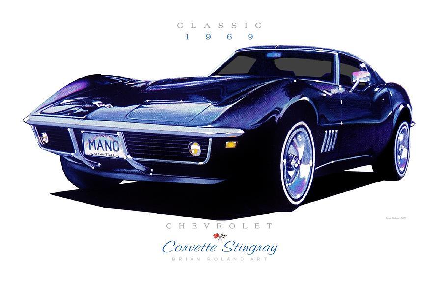 Corvette Stingray 1969 >> 1969 Chevrolet Corvette Stingray Drawing By Brian Roland