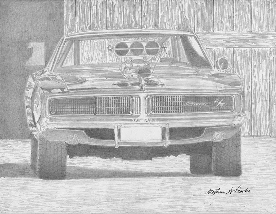 Dodge Charger Rt Front View Muscle Car Art Print Drawing by Stephen ...