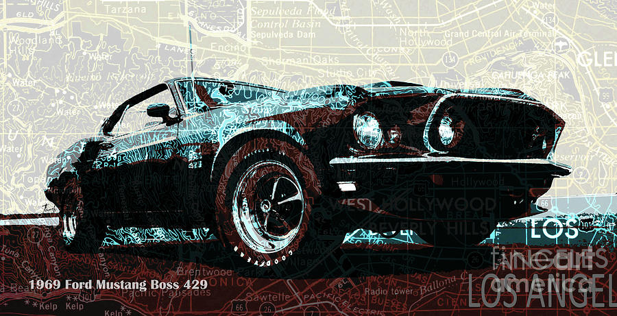 1969 Ford Mustang Boss 429 >> 1969 Ford Mustang Boss 429 Classic Car On Los Angeles California Holywood Map