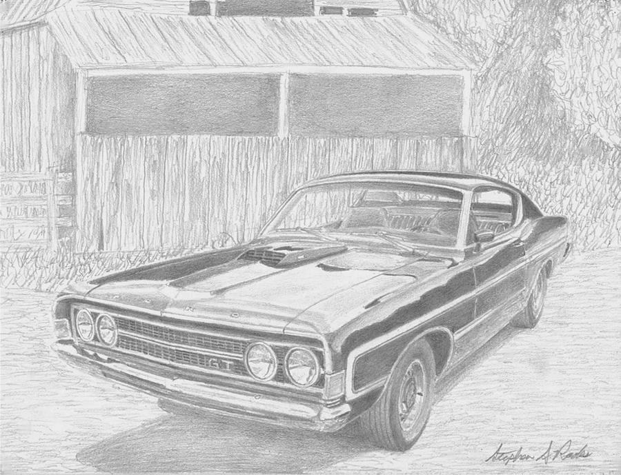 1969 Ford Torino Gt Muscle Car Art Print