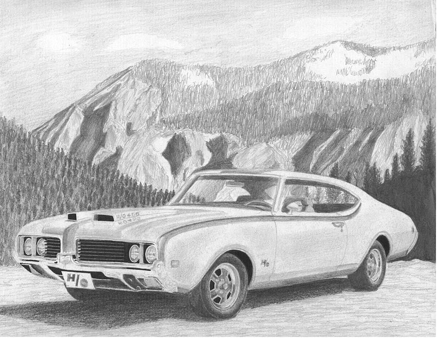1969 hurst oldsmobile cutlass muscle car art print drawing