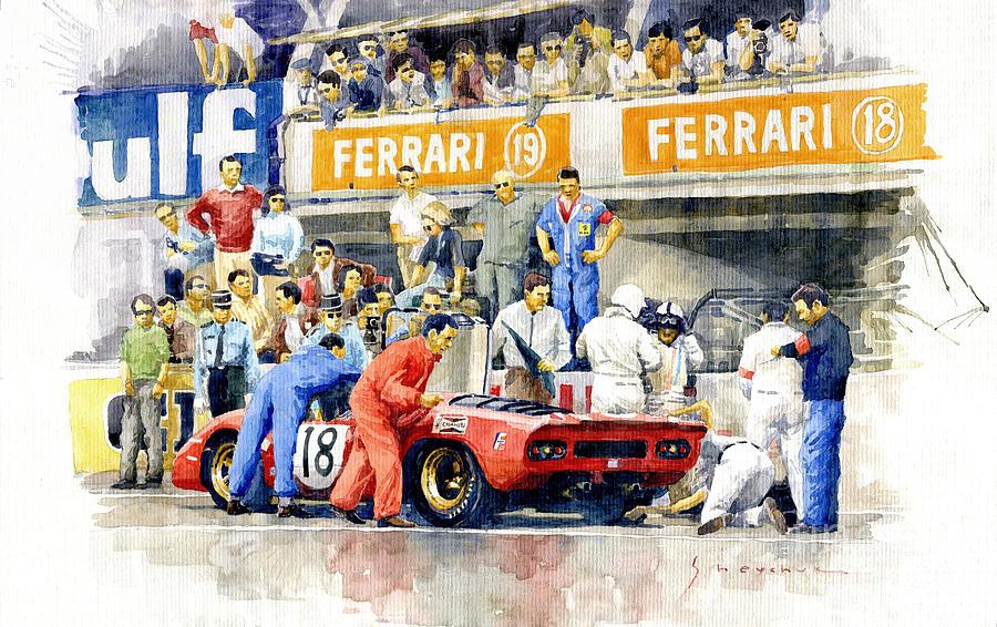 Watercolor Painting - 1969 Le Mans 24 Ferrari 312p Pedro Rodriguez  David Piper by Yuriy Shevchuk