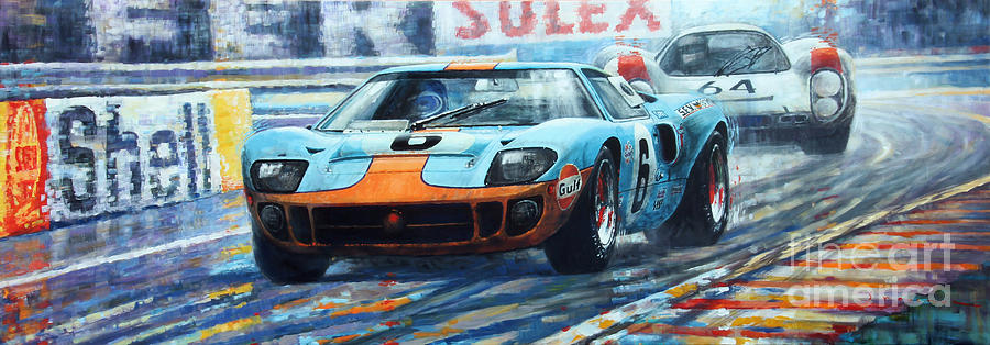 Paintings Painting - 1969 Le Mans 24 Ford Gt 40 Ickx Oliver Winner  by Yuriy Shevchuk