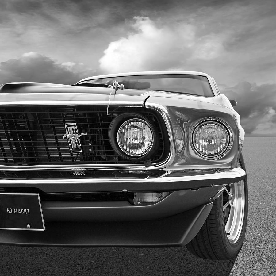 Classic ford mustang photograph 1969 mustang mach 1 black and white by gill billington