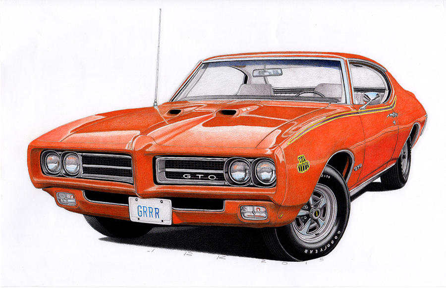 1969 pontiac gto drawing by james robert