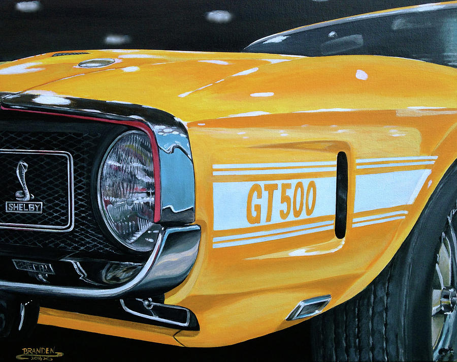 Shelby Mustang Painting - 1969 Shelby Gt500 by Branden Hochstetler