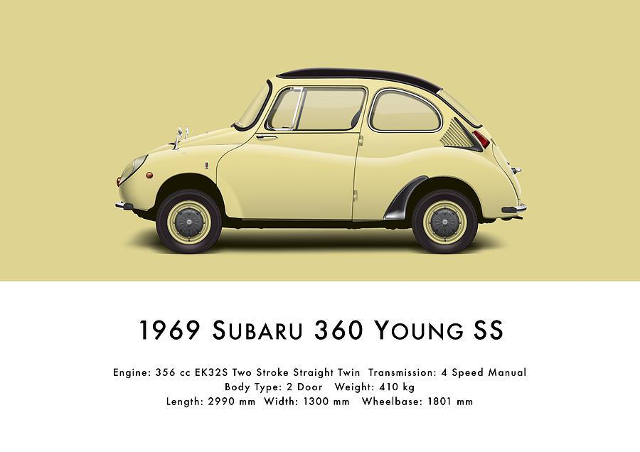 1969 Digital Art - 1969 Subaru 360 Young Ss - Light Yellow by Ed Jackson
