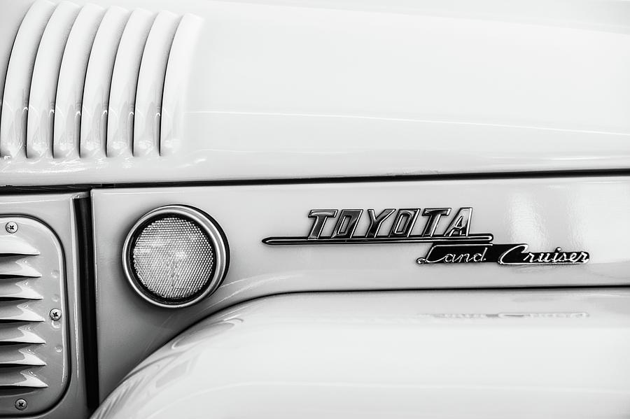 Bw Photograph - 1969 Toyota Fj-40 Land Cruiser Emblem -0441bw by Jill Reger