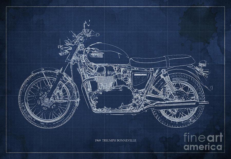 1969 Drawing - 1969 TRIUMPH BONNEVILLE Blueprint Blue background by Drawspots Illustrations