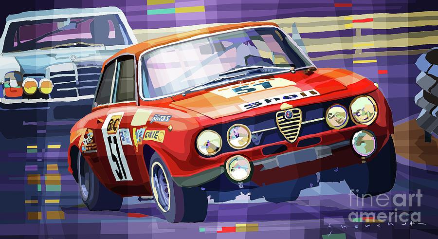 Automotive Mixed Media - 1970 Alfa Romeo Giulia Gt by Yuriy Shevchuk