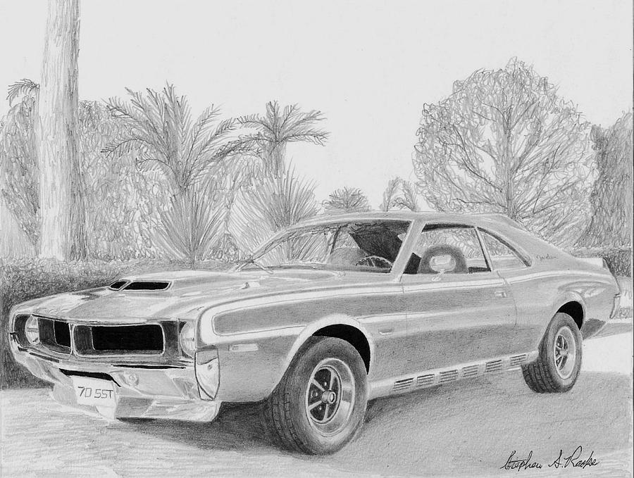 1970 Amc Javelin Sst Muscle Car Art Print Drawing by Stephen Rooks