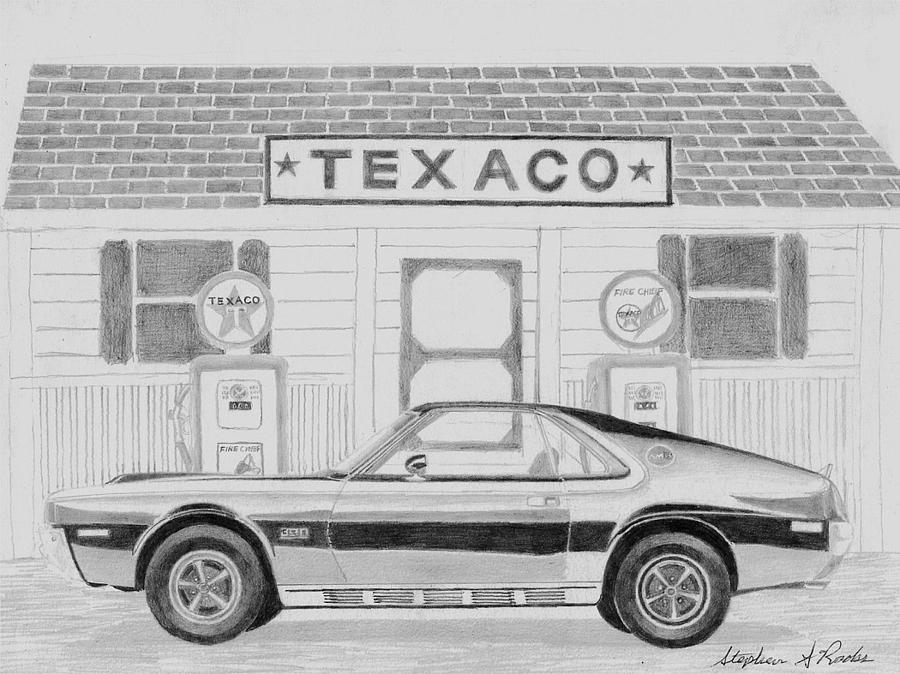 1970 Amx Javelin Side View Muscle Car Art Print Drawing by Stephen Rooks