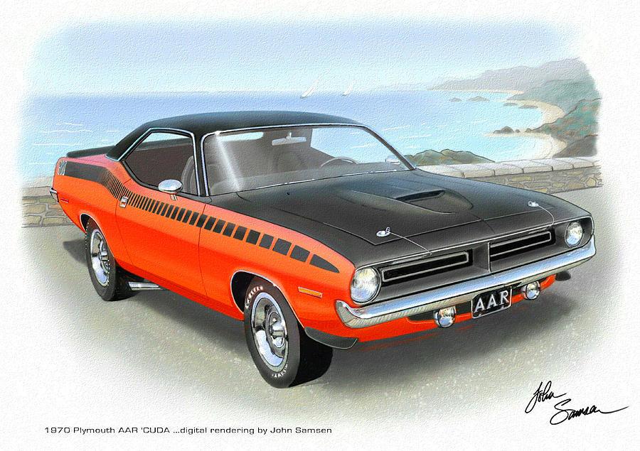 1970 Barracuda Aar Cuda Classic Muscle Car Painting by John Samsen