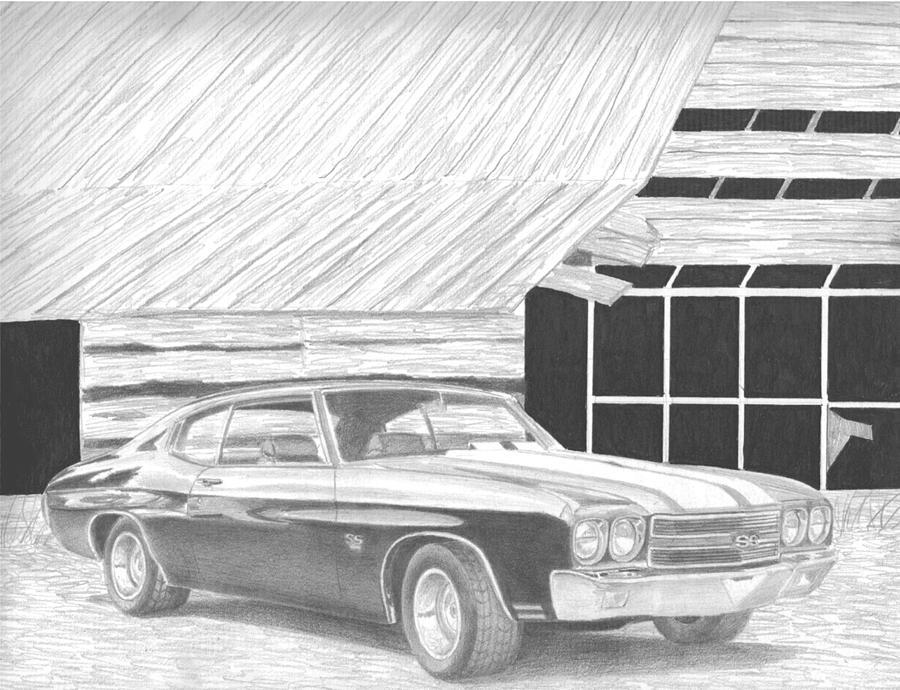 1970 Chevrolet Chevelle Ss Muscle Car Art Print Drawing By Stephen Rooks