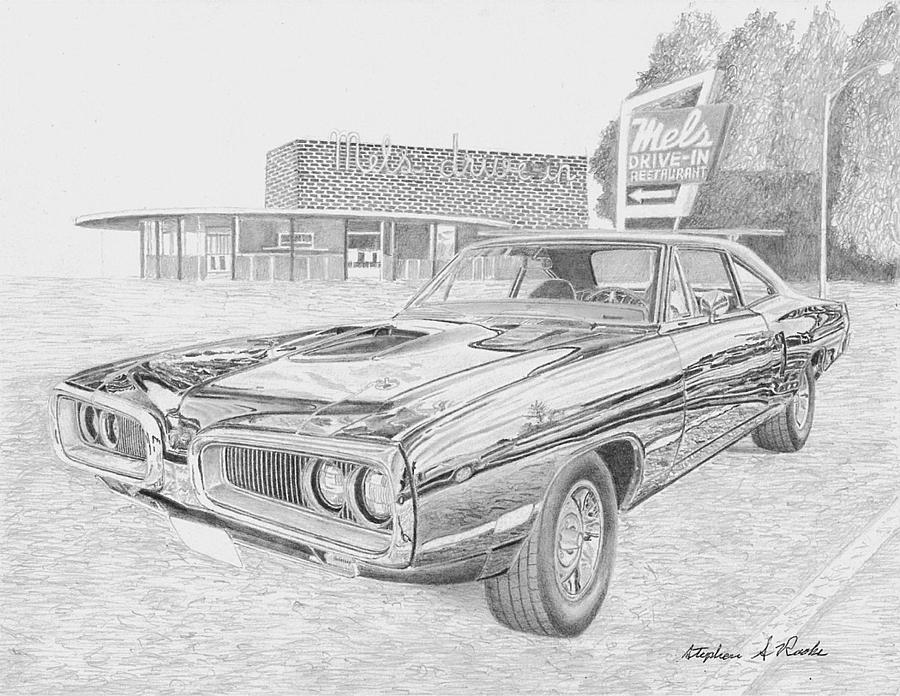 1970 Dodge Super Bee 2 Muscle Car Art Print Drawing by Stephen Rooks