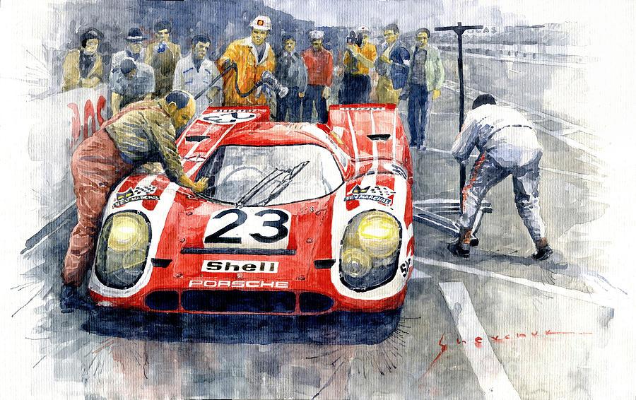Automotive Painting - 1970 Le Mans 24 Porsche917k Attwood Herrmann Winner  by Yuriy Shevchuk