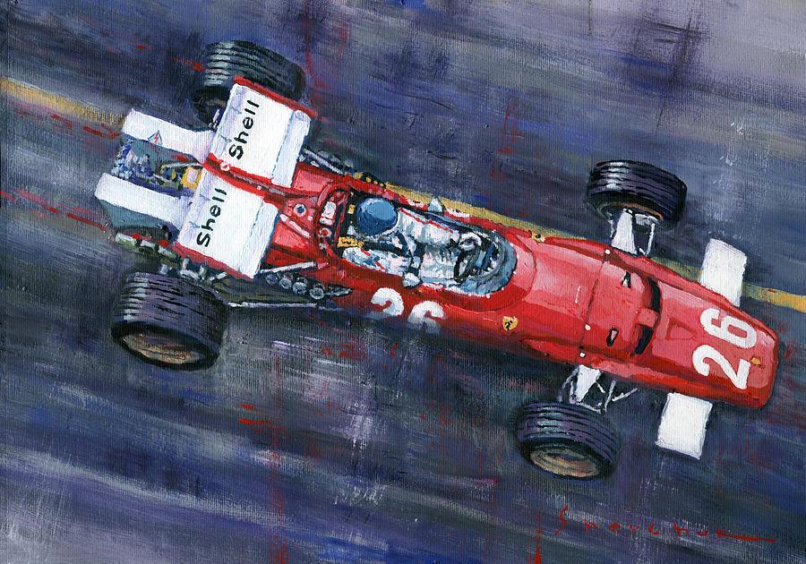 Painting Painting - 1970 Monaco Gp Ferrari 312 B Jacky Ickx  by Yuriy Shevchuk