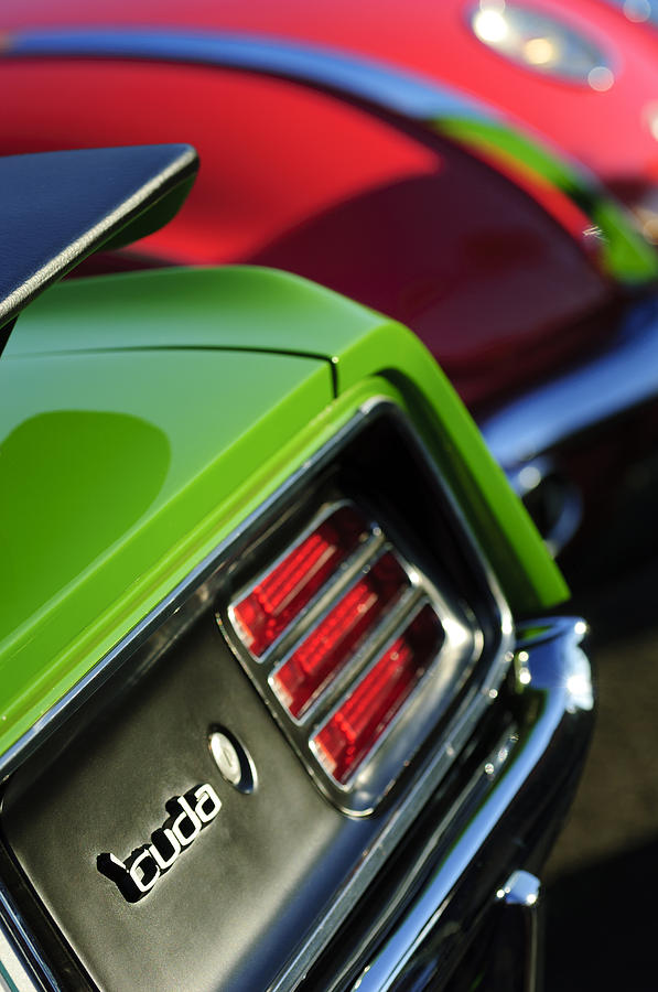 Taillight Photograph - 1970 Plymouth Barracuda Cuda Taillight Emblem by Jill Reger