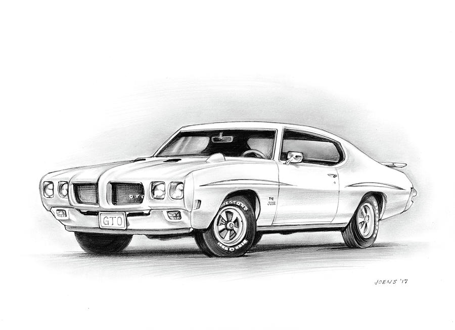 1970 Pontiac Gto Judge Drawing By Greg Joens