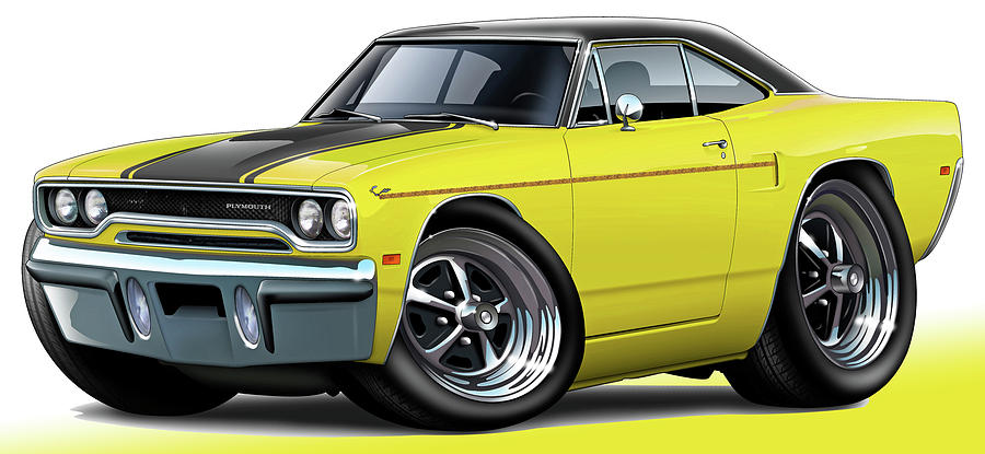 1970 Digital Art - 1970 Roadrunner Yellow Car by Maddmax