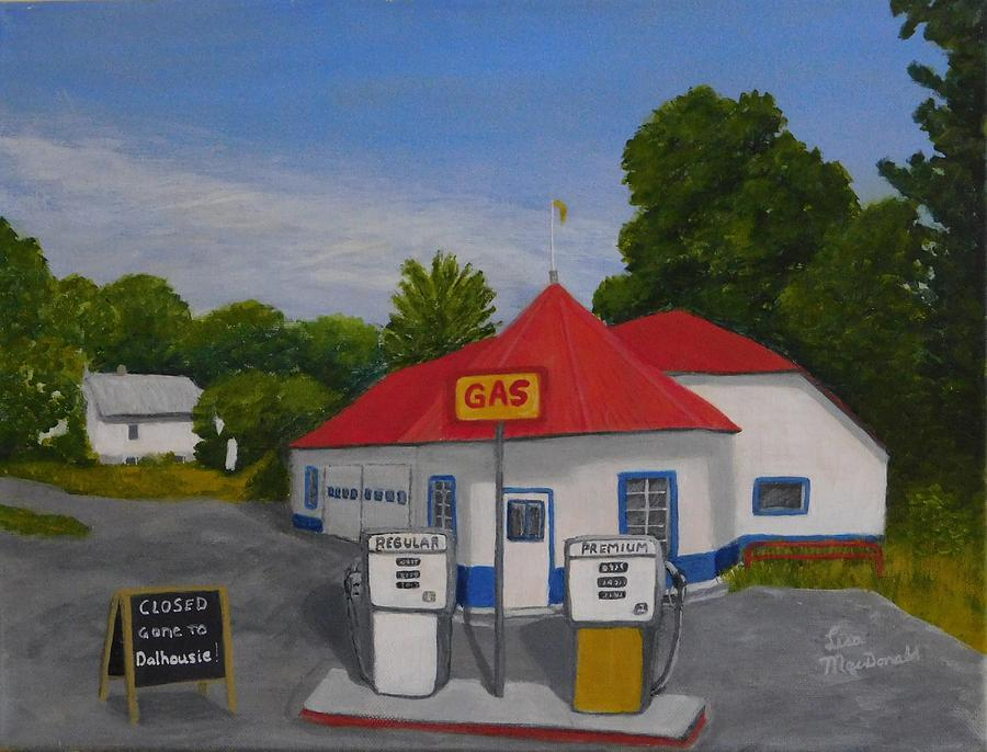 Landscape Painting - 1970s Gas Station by Lisa MacDonald