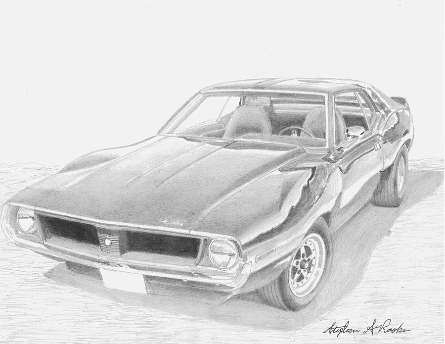 1971 Amc Javelin Muscle Car Art Print Drawing by Stephen Rooks