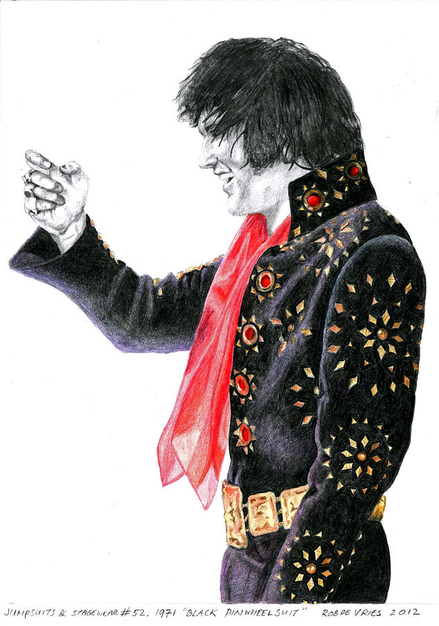 Elvis Drawing - 1971 Black Pinwheel Suit by Rob De Vries
