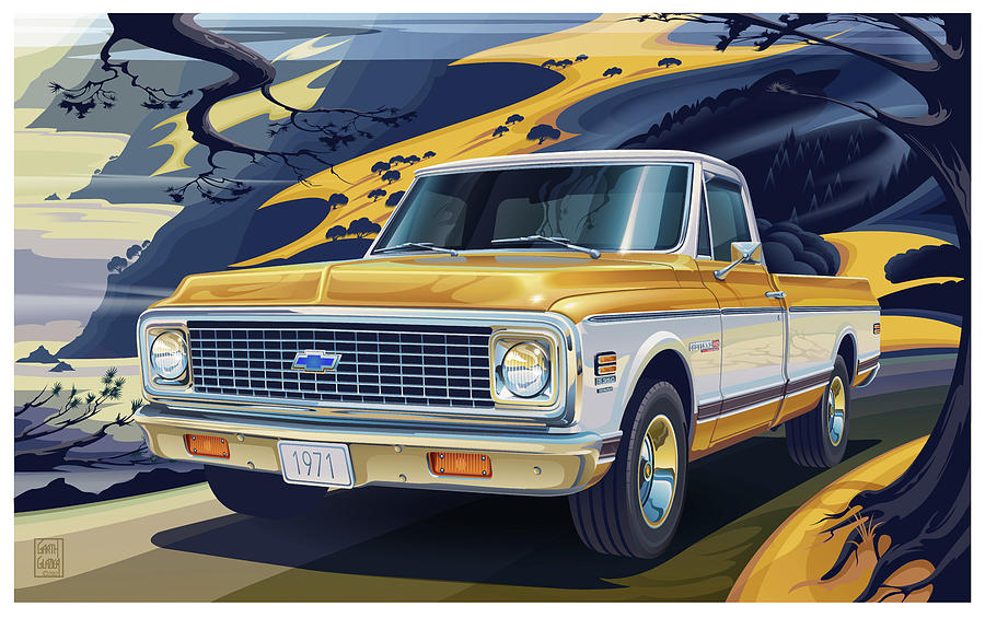 Chevrolet Digital Art - 1971 Chevrolet C10 Cheyenne Fleetside 2wd Pickup by Garth Glazier
