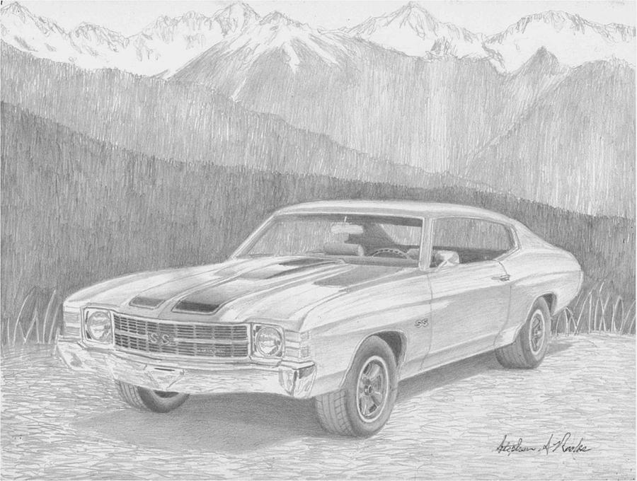 1971 Chevrolet Chevelle Ss Muscle Car Art Print Drawing by Stephen Rooks