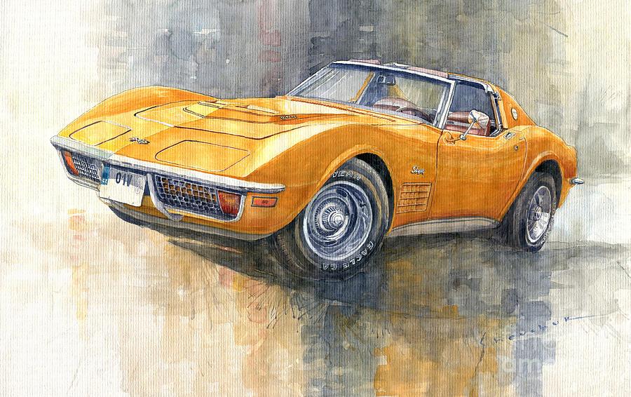Watercolor Painting - 1971 Chevrolet Corvette LT1 Coupe by Yuriy Shevchuk