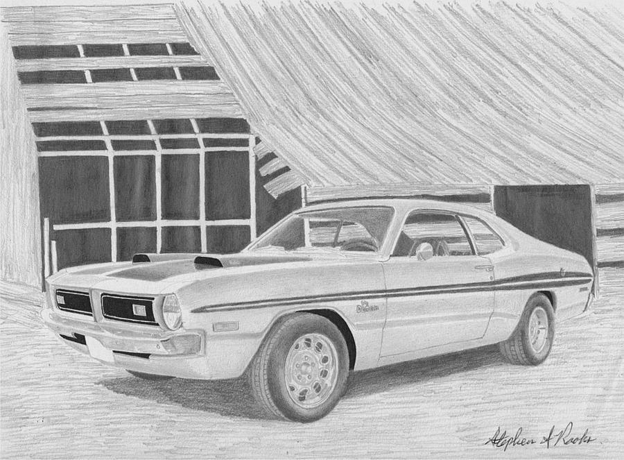 1971 Dodge Demon Classic Car Art Print Drawing by Stephen Rooks