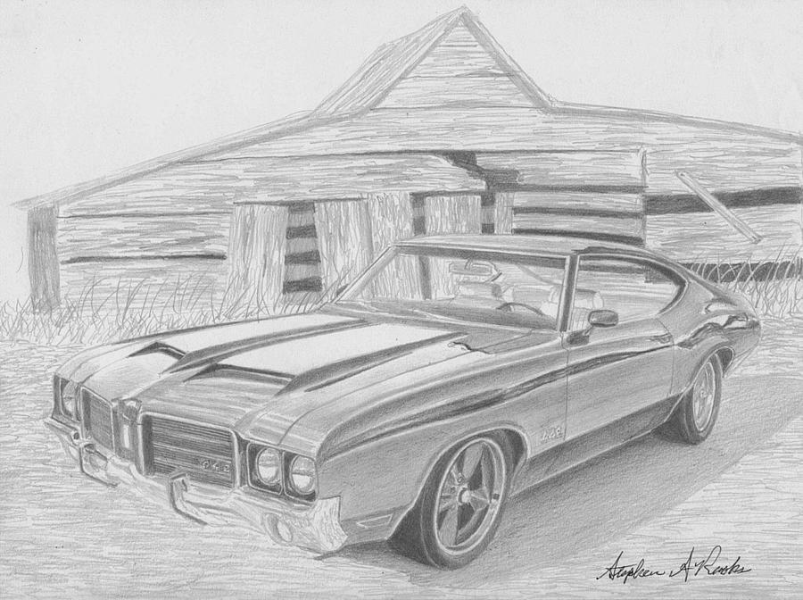 1971 Oldsmobile Cutlass 442 Muscle Car Art Print Drawing by Stephen ...