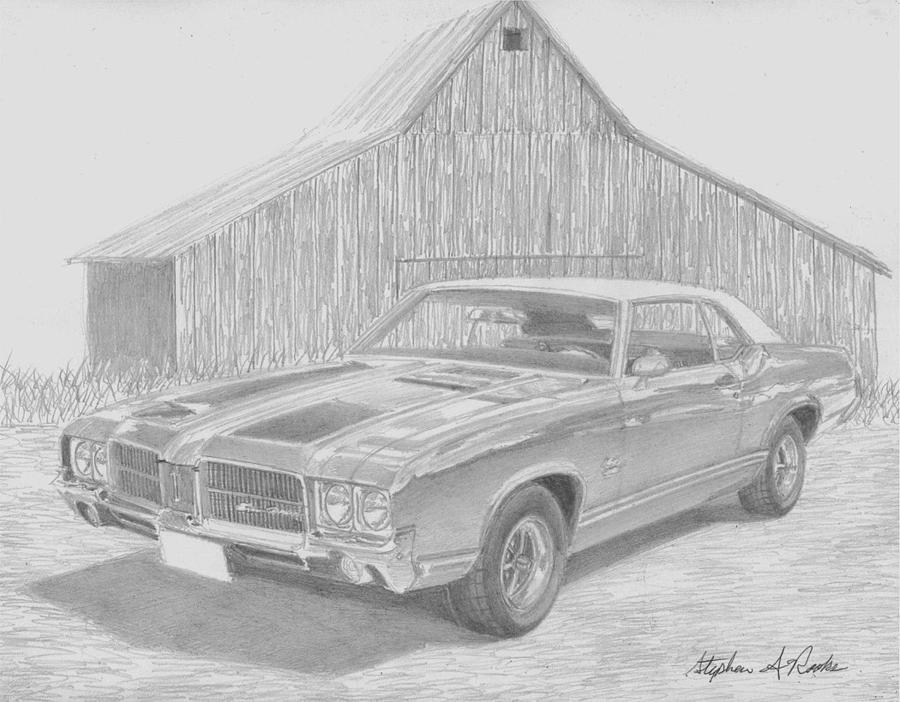 Automobile Drawings Drawing - 1971 Oldsmobile Cutlass Supreme Muscle Car Art Print by Stephen Rooks