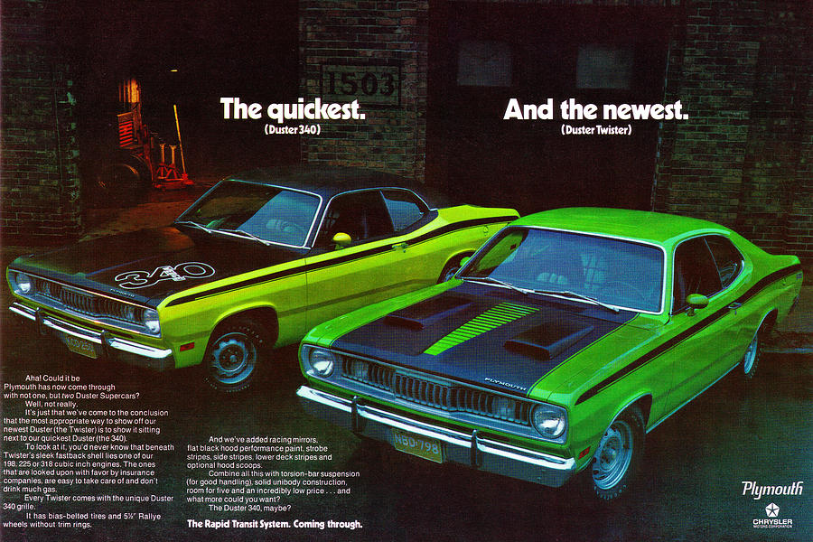 1971 plymouth duster 340 and twister digital art by digital repro depot. Black Bedroom Furniture Sets. Home Design Ideas