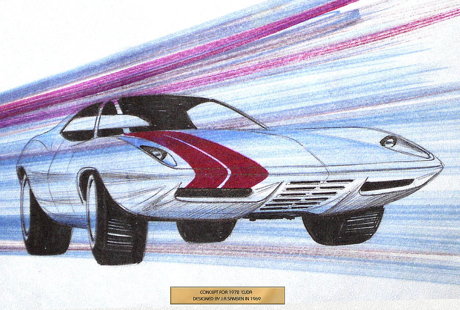 Car Concepts Drawing - 1972 Barracuda  Vintage Styling Design Concept Sketch by John Samsen