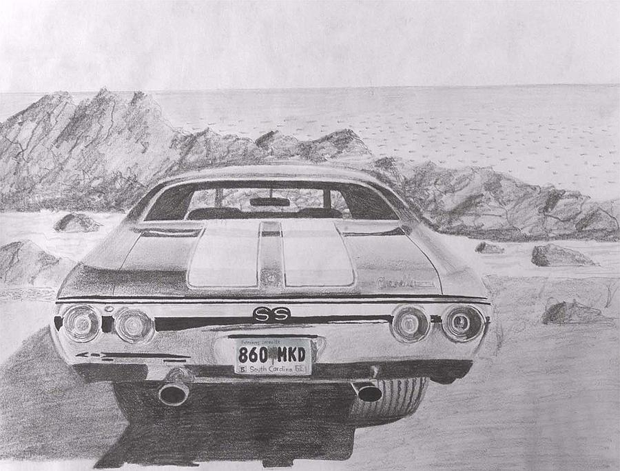 1972 Chevrolet Chevelle Ss Rear View Muscle Car Art Print Drawing By