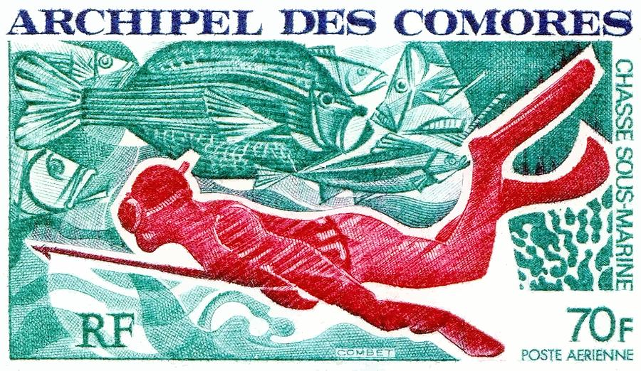 Comoro Islands Digital Art - 1972 Comoro Islands Spearfishing Postage Stamp by Retro Graphics