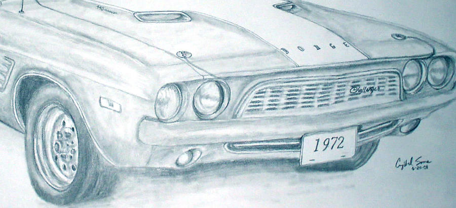 1972 Dodge Challenger... Close up Drawing by Crystal Sons