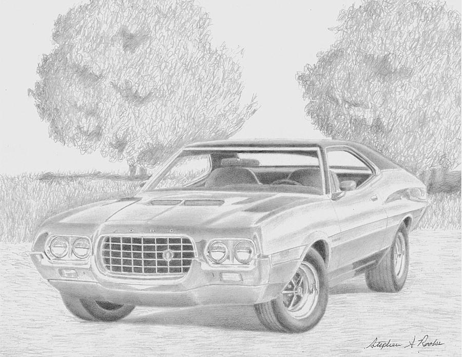 1972 Ford Gran Torino Muscle Car Art Print Drawing by Stephen Rooks