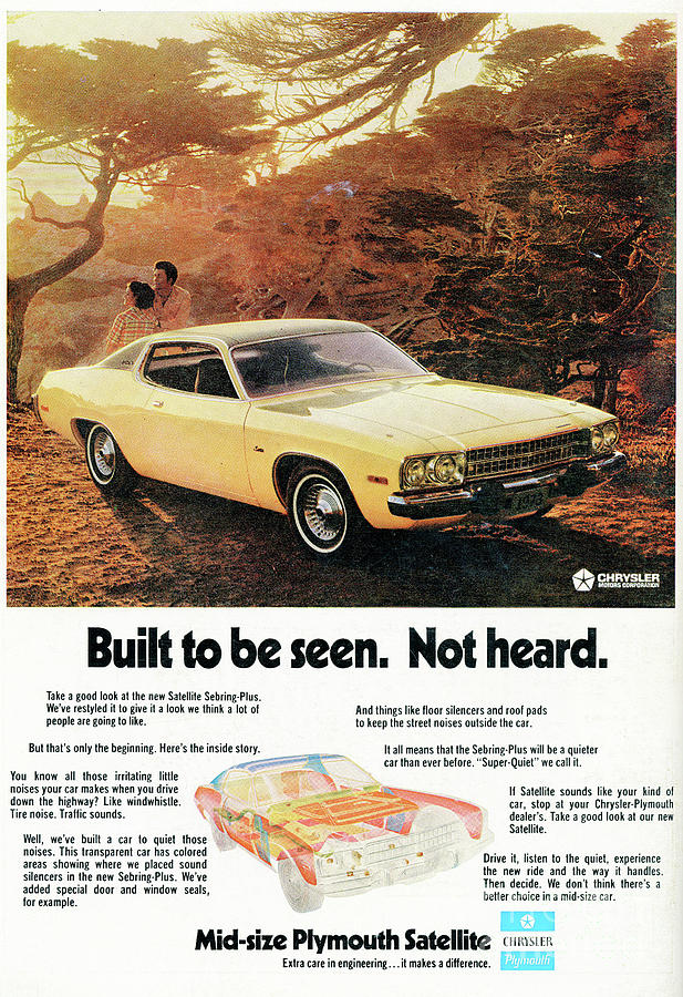 1972 Mid-size Plymouth Satellite Vintage Car Ad Photograph by Edward ...