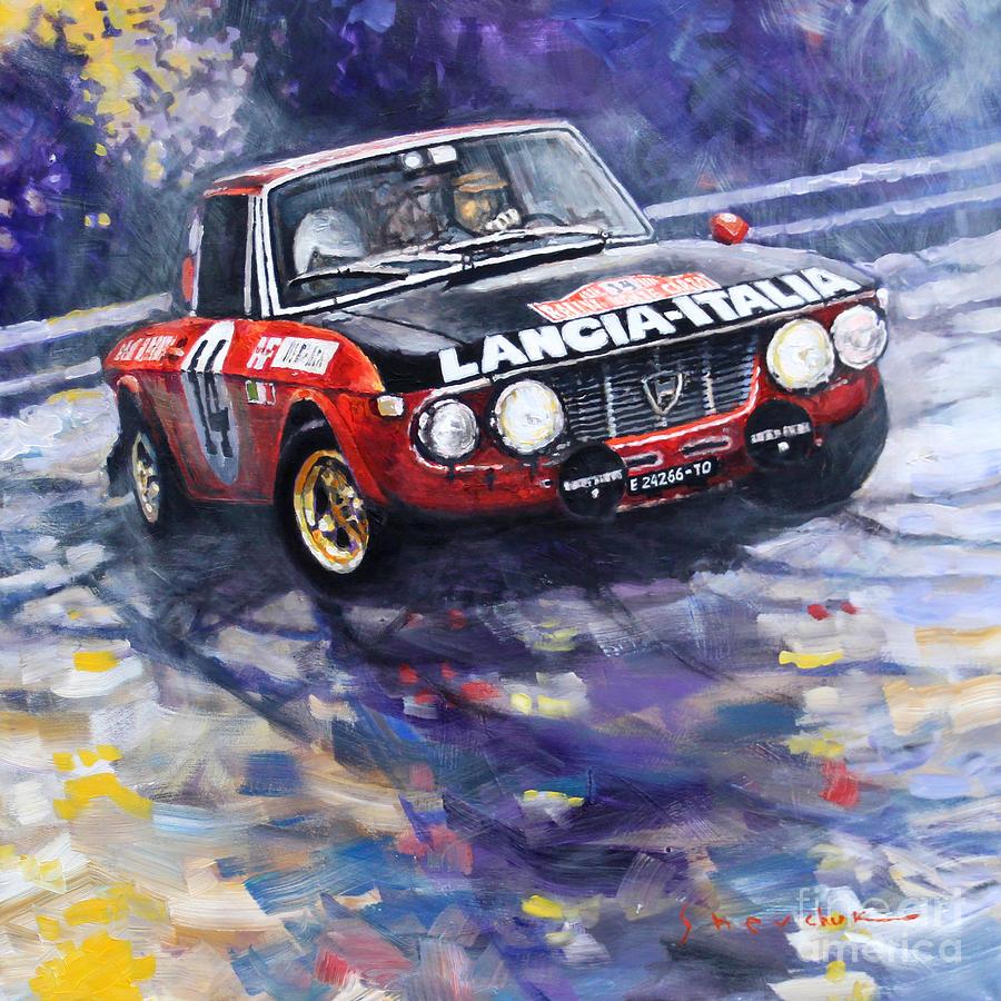 Paintings Painting - 1972 Rallye Monte Carlo Lancia Fulvia 1600hf Munari Mannucci Winner by Yuriy Shevchuk