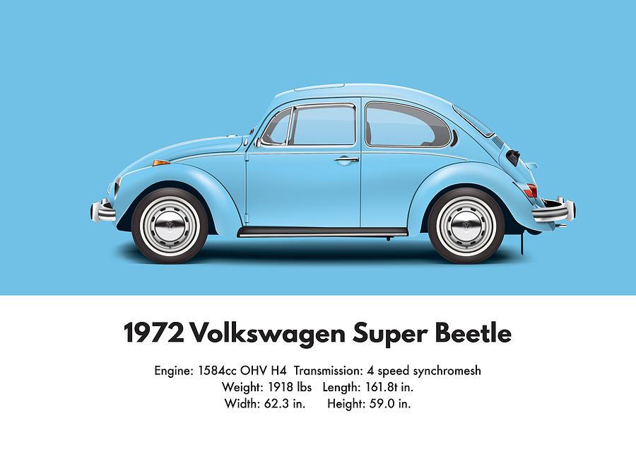 1972 Volkswagen Super Beetle Marina Blue Digital Art By